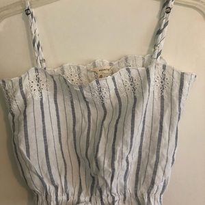 White with blue stripes camisole style crop top